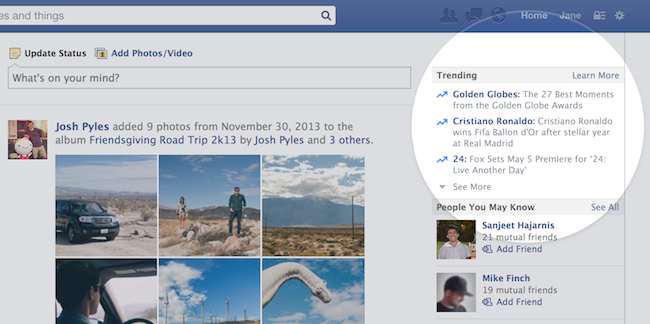 http://www.insidefacebook.com/2014/01/16/facebook-officially-launches-trending/